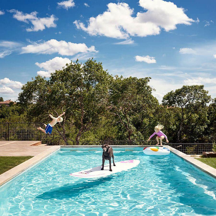 Lavish pool deck of the Farmhouse in Austin