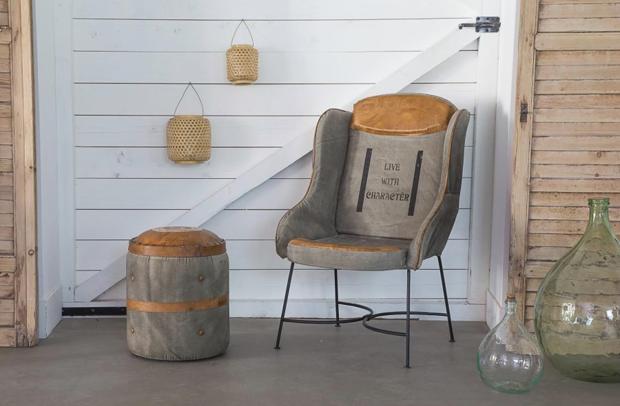 Leather and fabric chair from BARAK 7
