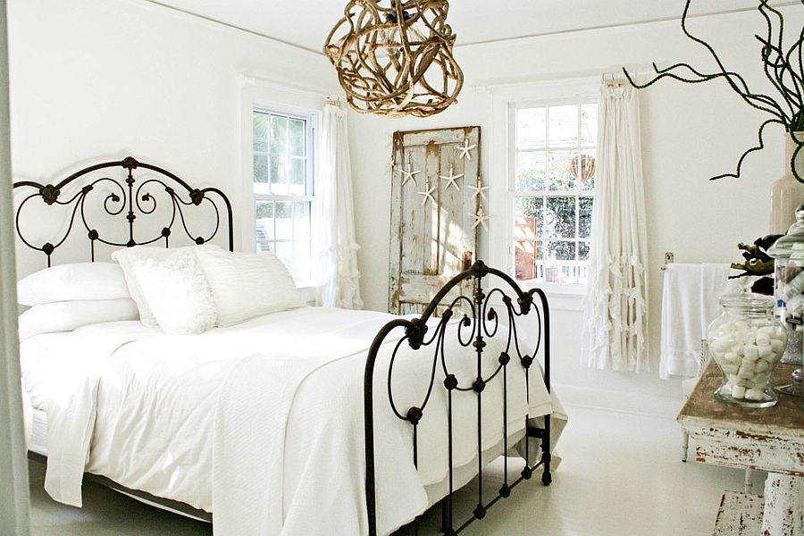 Light and airy bedroom in white with shabby chic and coastal touches [Photography: Mina Brinkey]