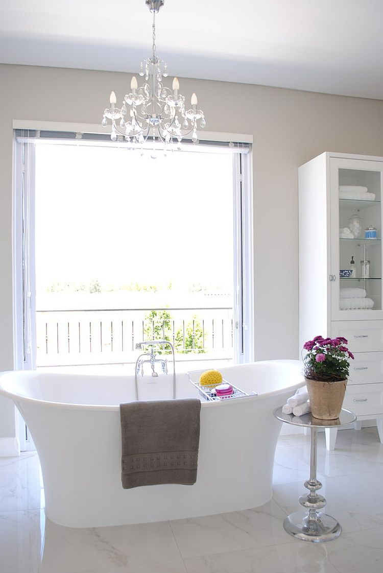 Light and breezy bathroom in white and light gray [Design: Salomé Knijnenburg Interiors]
