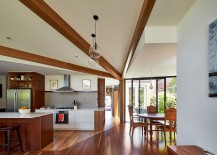 Light and breezy living area of the revamped Diagnol House 217x155 Modern Timber and Glass Extension Revamps Elegant Aussie Home