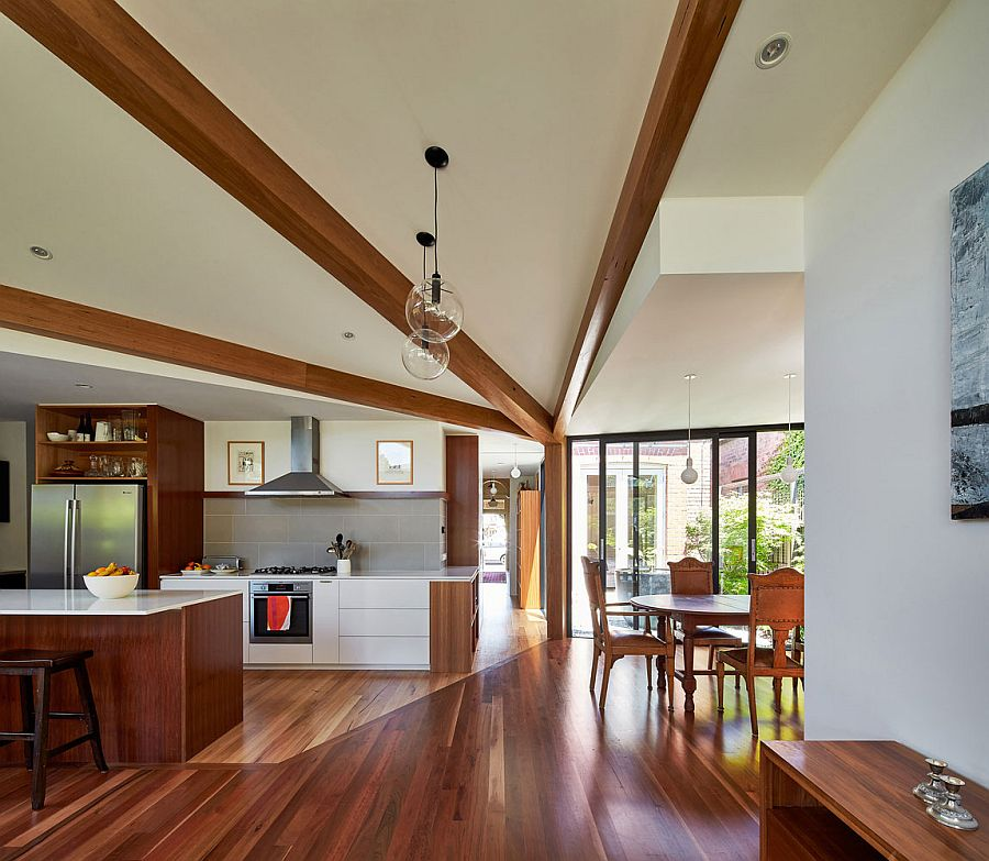Light and breezy living area of the revamped Diagnol House