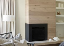 Limed oak timber used for the fireplace wall