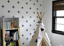 Little reading nook teepee besides a bookshelf 217x155 15 Whimsical Teepee Reading Nooks for Kids