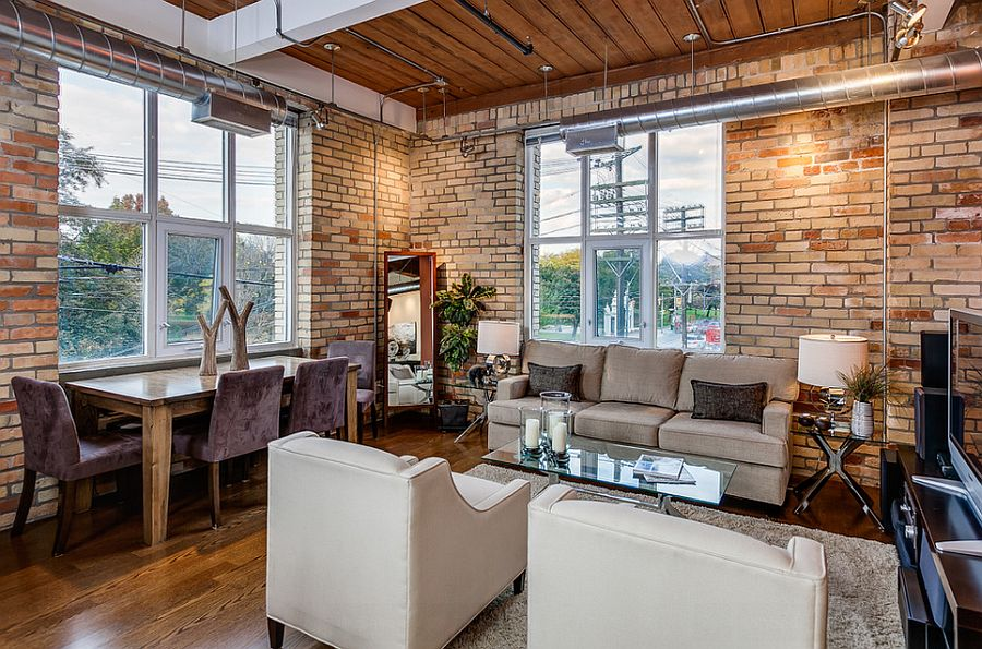living and dining room with exposed brick walls design the graces remax hallmark - Brick Design Wall