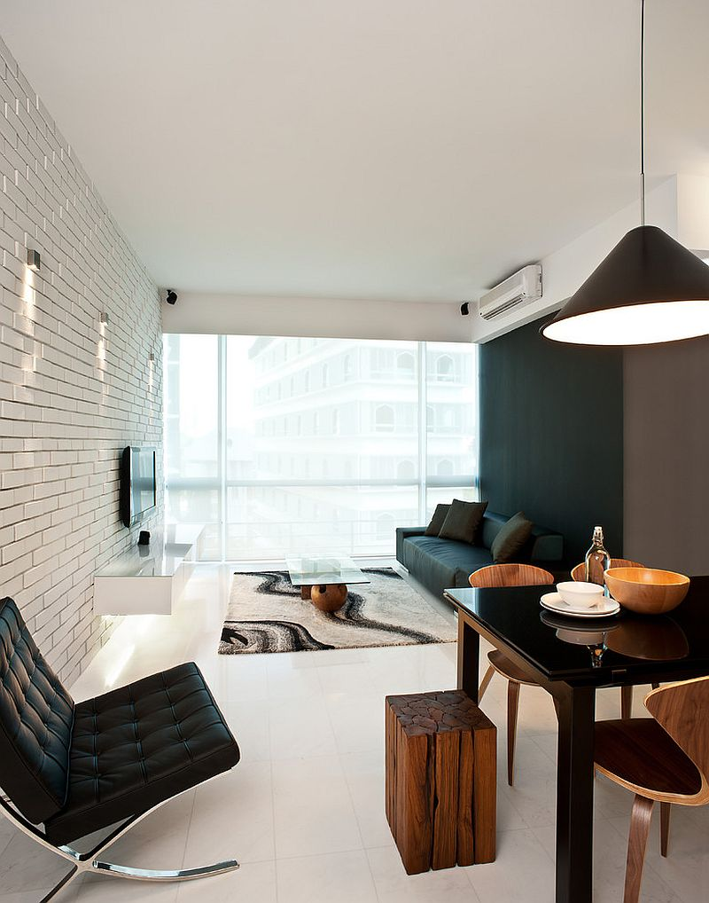 Living room brick wall in white with a more modern flair [Design: Architology]