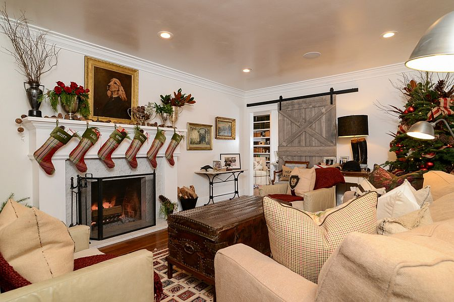 Living room dressed up for the holiday season! [Design: Kerrie L. Kelly]
