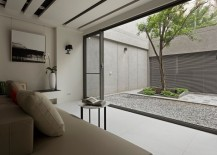 Living room that looks out into bright courtyard 217x155 16 Minimal Courtyards with Just a Hint of Nature