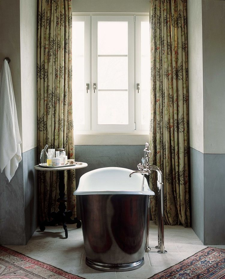 Lovely bathtub adds glossy elegance to the traditional bathroom [Design: Wendi Young Design]