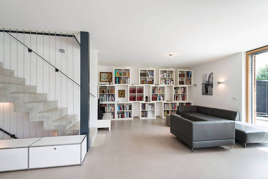 Lovely bookcase in the living room brings color and contrast