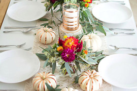 Lovely fall tablescape from Homey Oh My!  From Halloween to Thanksgiving Dinner: Your Fall Holiday Checklist Lovely fall tablescape from Homey Oh My