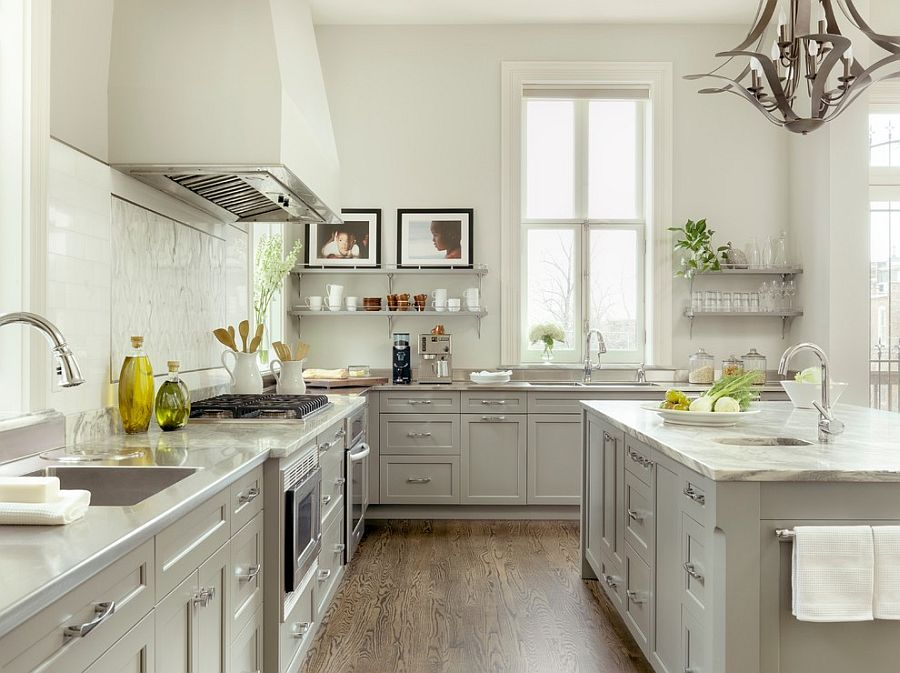 Lovely light gray for the kitchen cabinets enhances the appeal of this cheerful kitchen [Design: Mitchell Wall Architecture & Design]