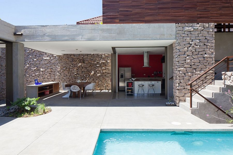 Lovely pool area of the Garden House epitomizes its indoor-outdoor interplay