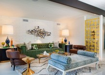 Lovely use of color in the midcentury living room [Design: Joel Dessaules Design]