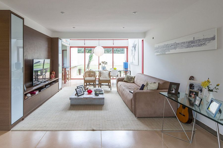 Low ceiling of living room creates a cozy, intimate atmosphere