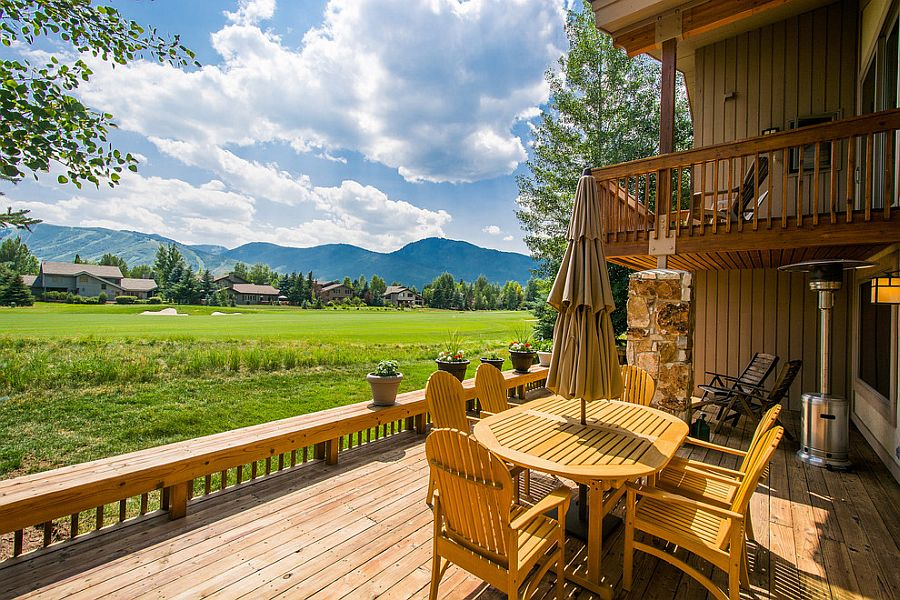 Low rail allows you to enjoy the lush green view on offer [Design: Julie Olsen Park City Utah Realtor]