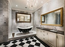 Luxurious bathroom design in black and white with a hint of gold
