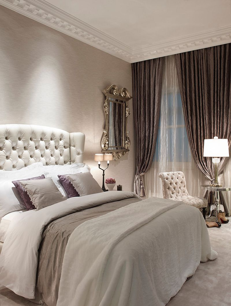 Luxurious bedroom of London townhouse with shabby chic style [Design: Oliver Burns]