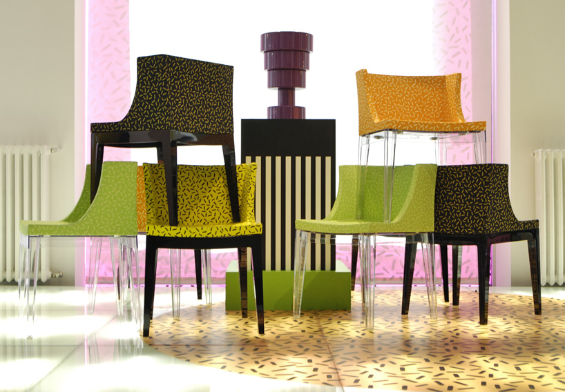 Mademoiselle chairs by Philippe Starck upholstered in Memphis fabrics