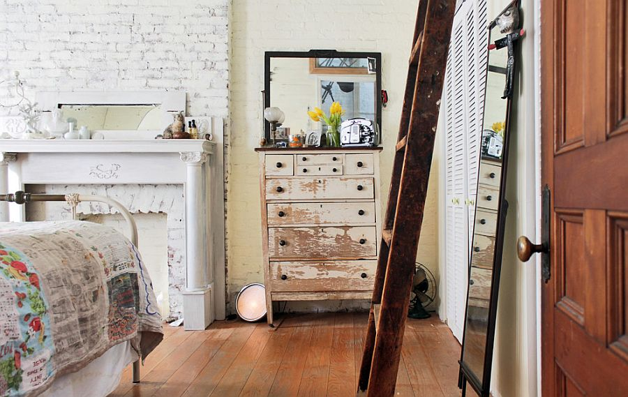 Make your own distressed furniture to create that perfect shabby chic bedroom [Design: Laura Garner]