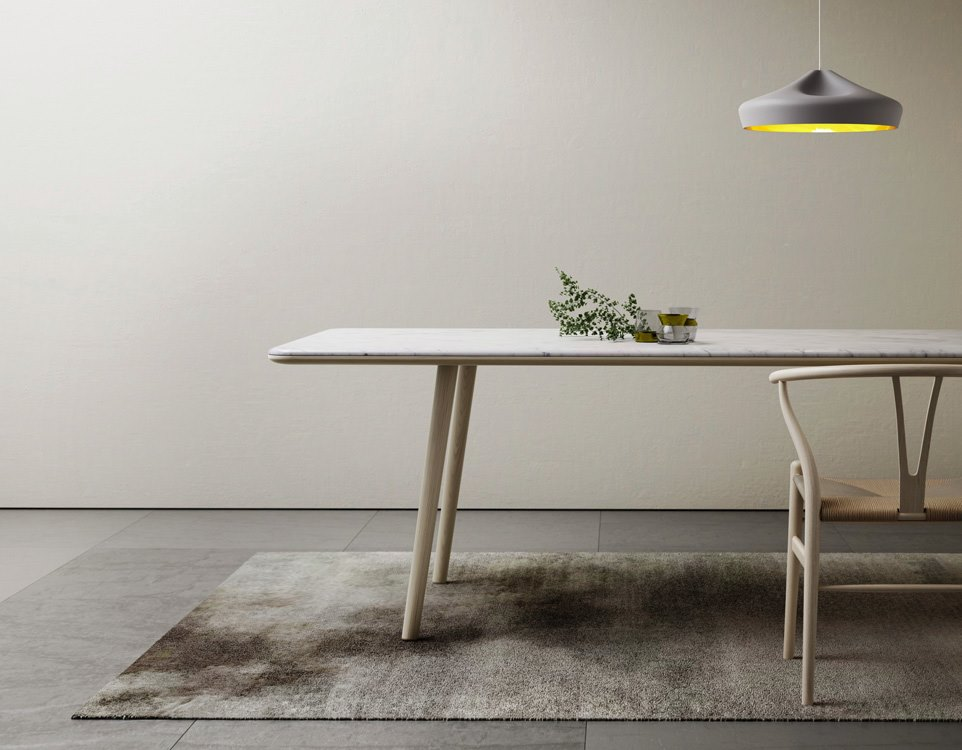 Marble and oak dining table from Retegui
