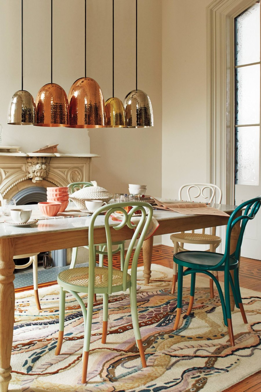Marble and wood dining table from Anthropologie