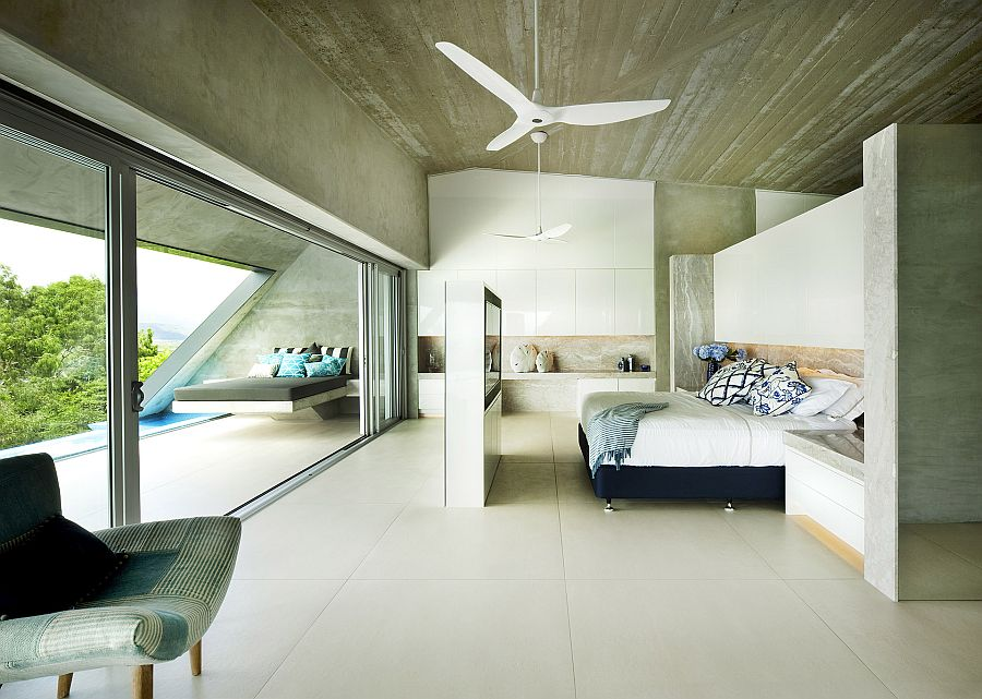 Master bedroom of The Edge connected to the sunbed and pool area