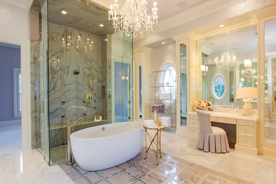 Mediterranean style bathroom with a splash of opulence [Design: Claremont Companies]