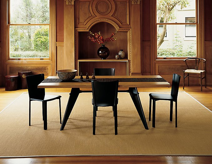 Metal and wood dining table from Design Within Reach
