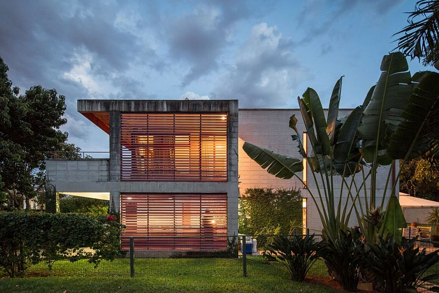 Metallic shutters combine privacy with natural ventilation
