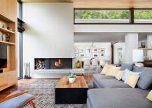 Mid-Century living room remodel with brick walls painted in warm white [Design: Allison Burke Interior Design]