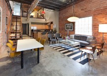 Midcentury decor makes its presence felt in the industrial home [Design: Laura U]