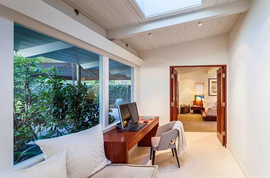 Midcentury home office of the Santa Barbara home with skylight