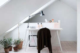 Minimal bright office area  15 Bright Attic Spaces for an Office or Studio Minimal bright office area