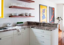 Minimal, open floating wooden shelves are a hit in the contemporary kitchen