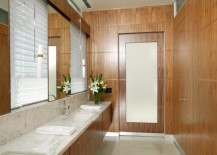 Modern bathroom with aluminum baseboards