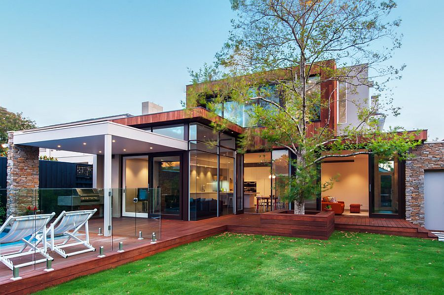 Modern exterior of the Sandringham House with a lovely wooden deck