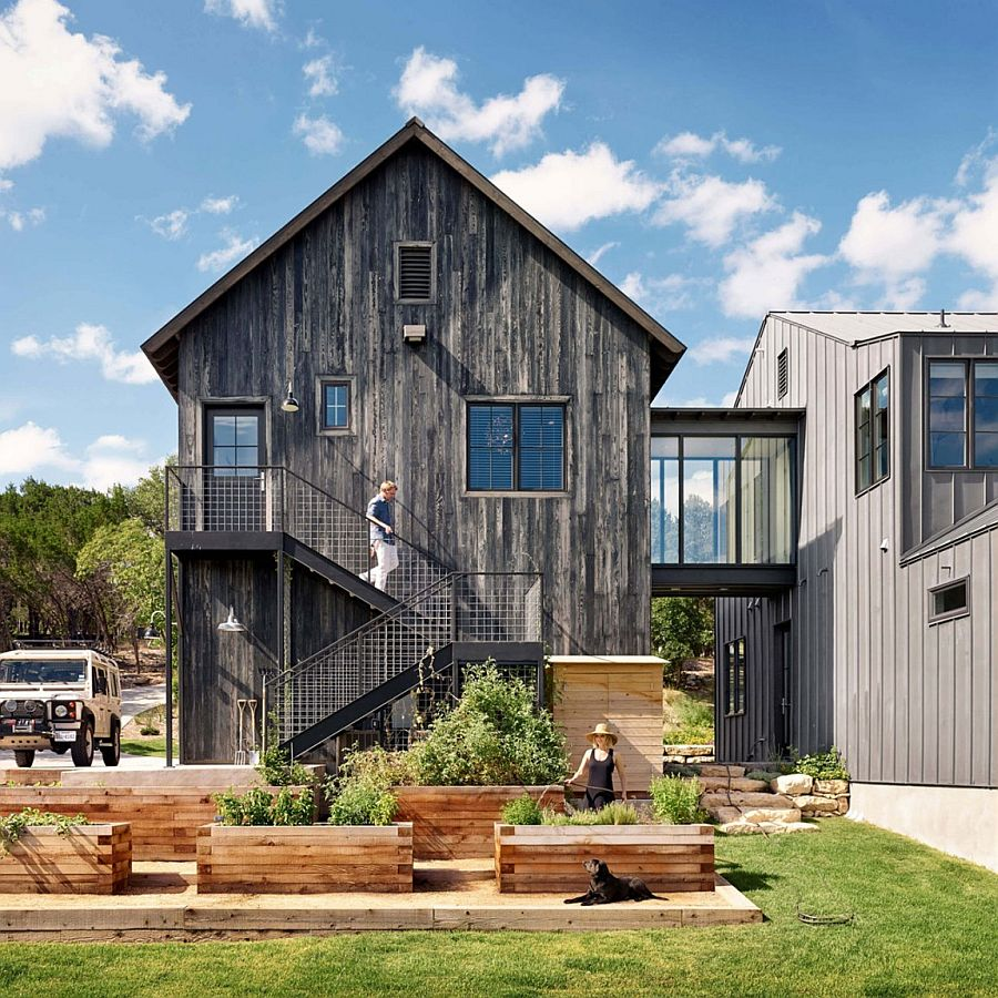 Rustic charm and modern flourishes stand side by side at for Side by side homes