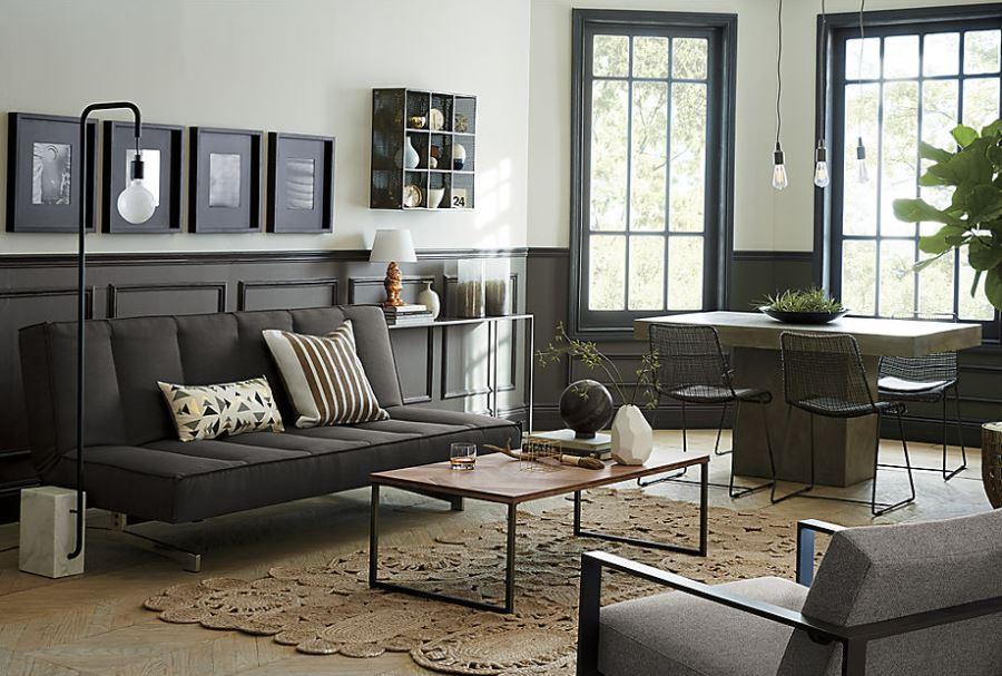 Modern interior with grey wainscotting