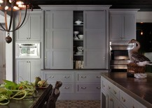 Modern-kitchen-hutch-in-gray-with-sliding-doors-217x155