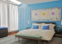Monochromatic blue bedroom