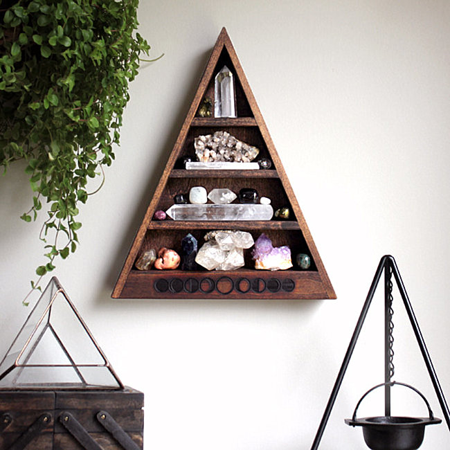 Moon phase triangle shelf from Etsy shop Stone and Violet