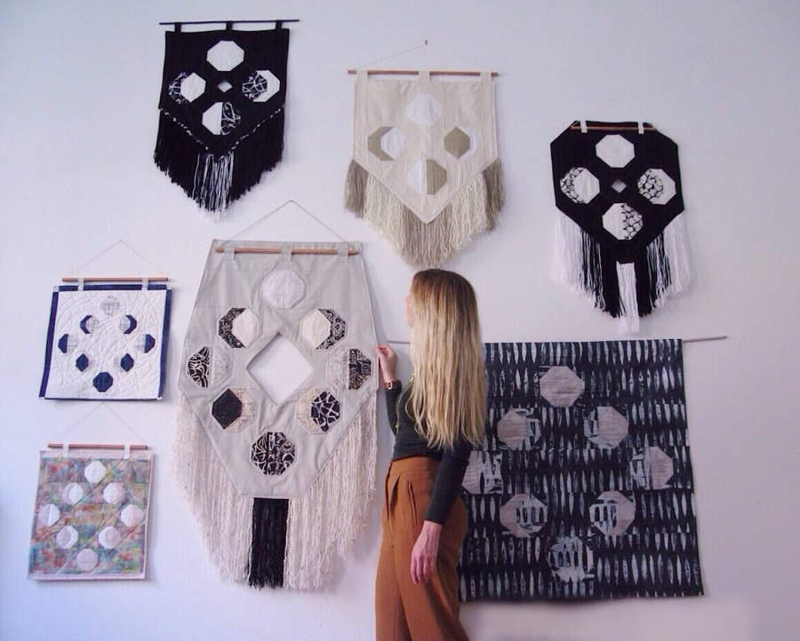 Moon phase wall hangings from Etsy shop FOAK