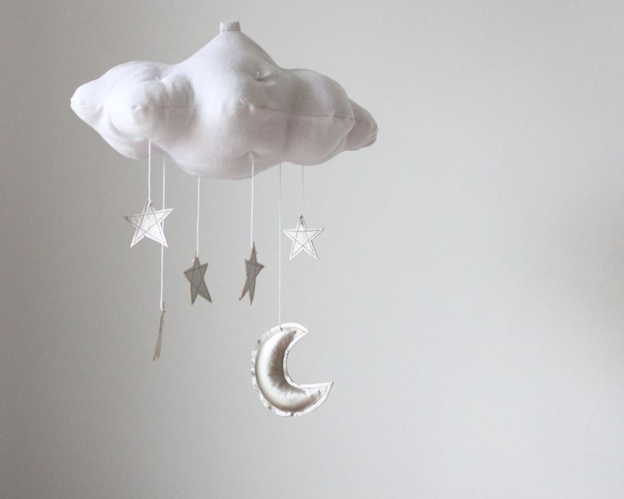 Moon, star and cloud mobile from Etsy shop Baby Jives Co.