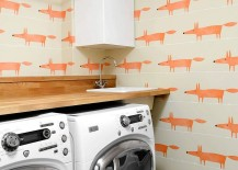 Mr. Fox wallpaper in the laundry