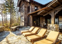 Natural stone deck for the rustic mountain retreat