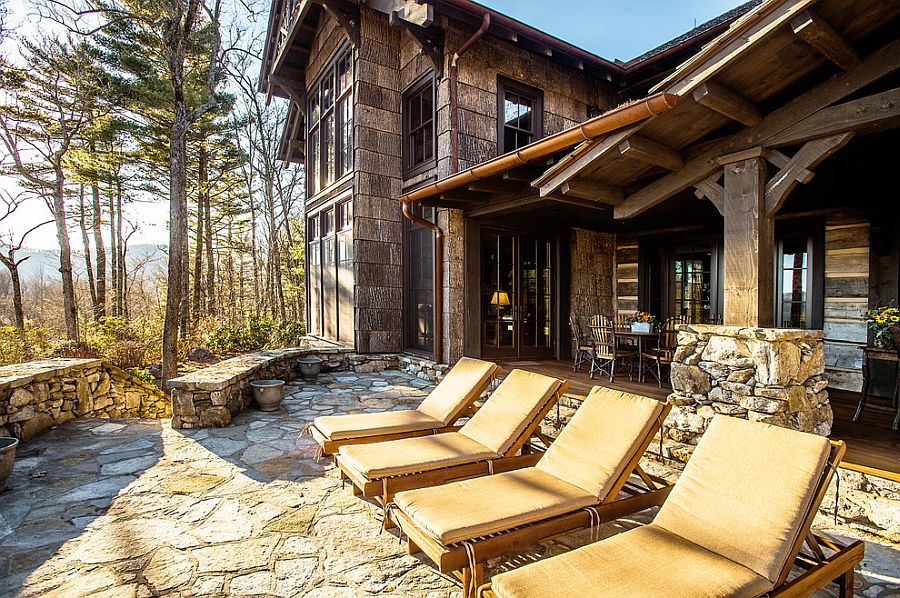 Natural stone deck for the rustic mountain retreat [Design: MossCreek]