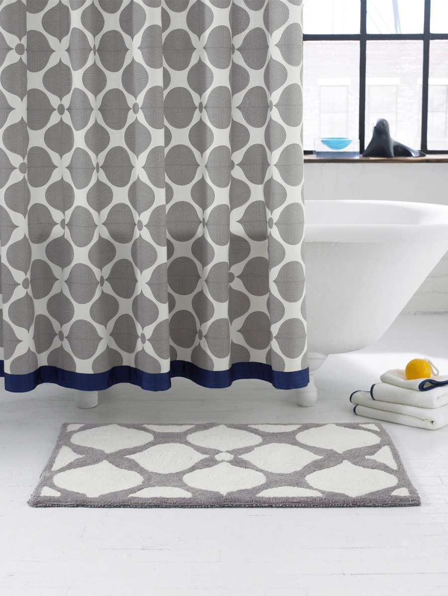 Navy and grey shower curtain from Jonathan Adler
