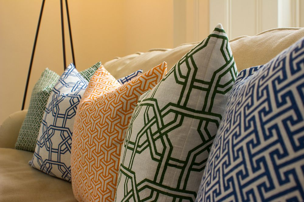 New colors and smart geometric patterns grace the latest collection of cushions from Nina Kullberg