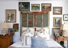 Old shutters repurposed as unique headboard for the shabby chic bedroom